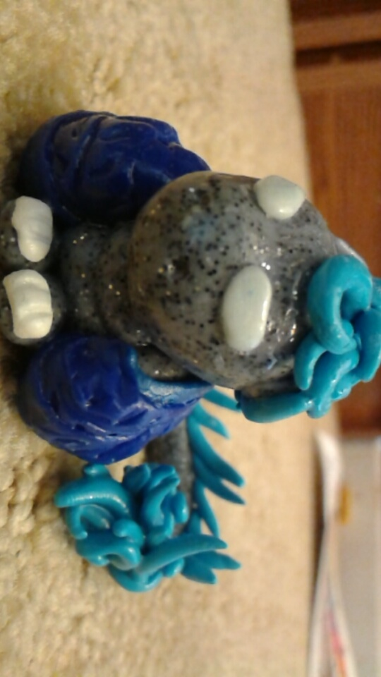 Feather Winged Dragon -blues- (polymer clay) by Gossamier