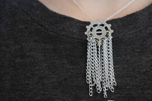 Silver Steampunk Metal Chain Tassel Necklace