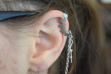 silver steampunk chain dangle earrings