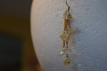 Dangle White and Gold Earrings