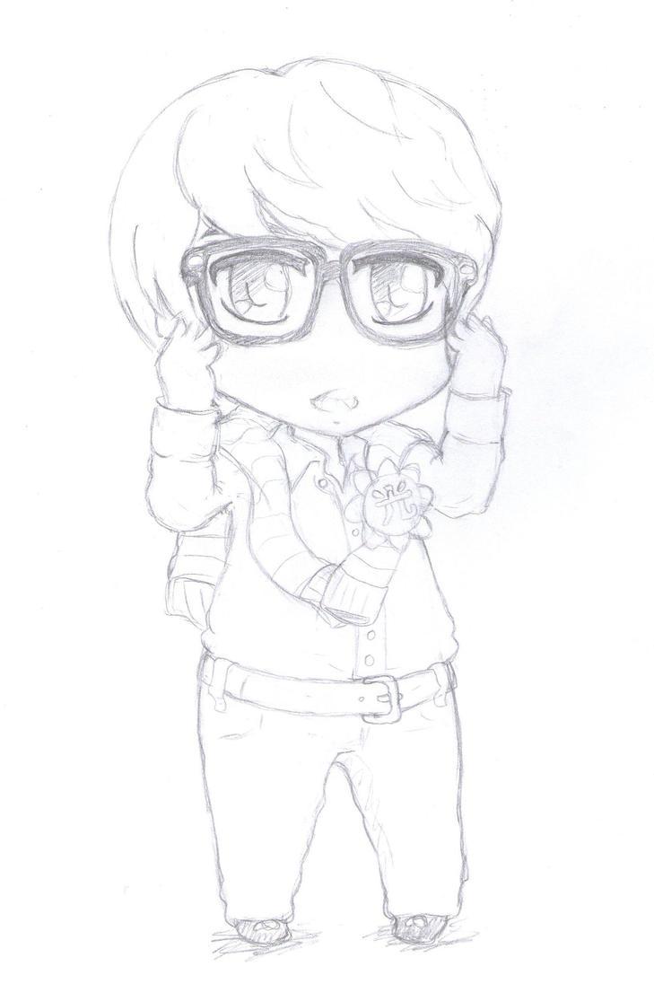 Glasses Kyu Chibi : Sketch ver by CheekyFlower on DeviantArt
