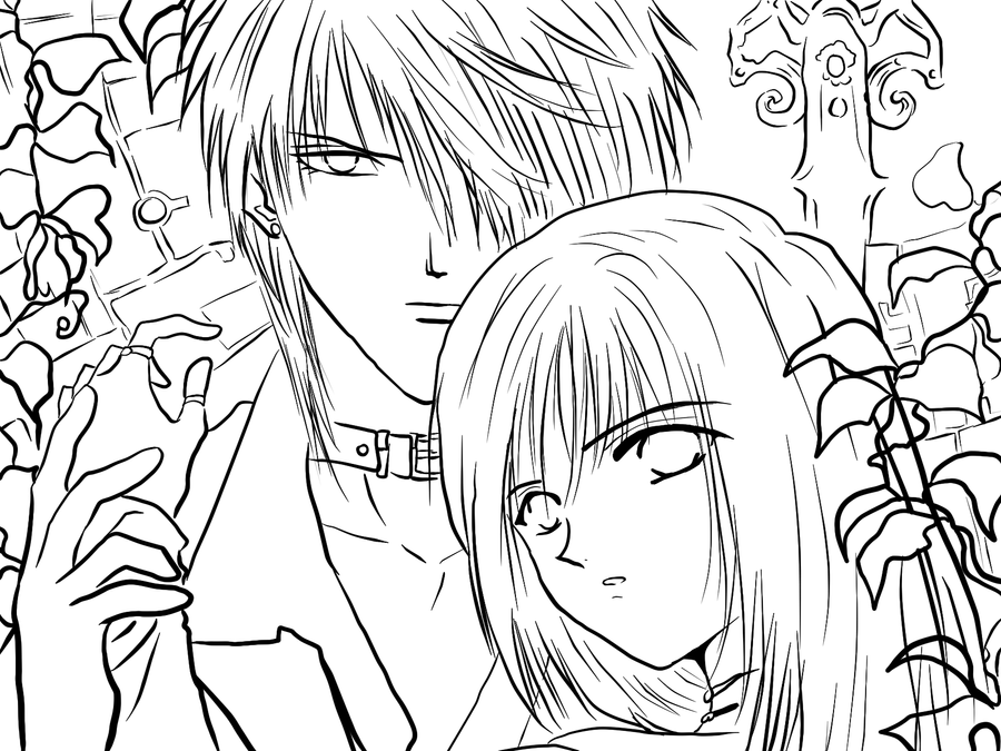 Line art cuple by gabrielagogonea on deviantart - Coloriage manga difficile ...