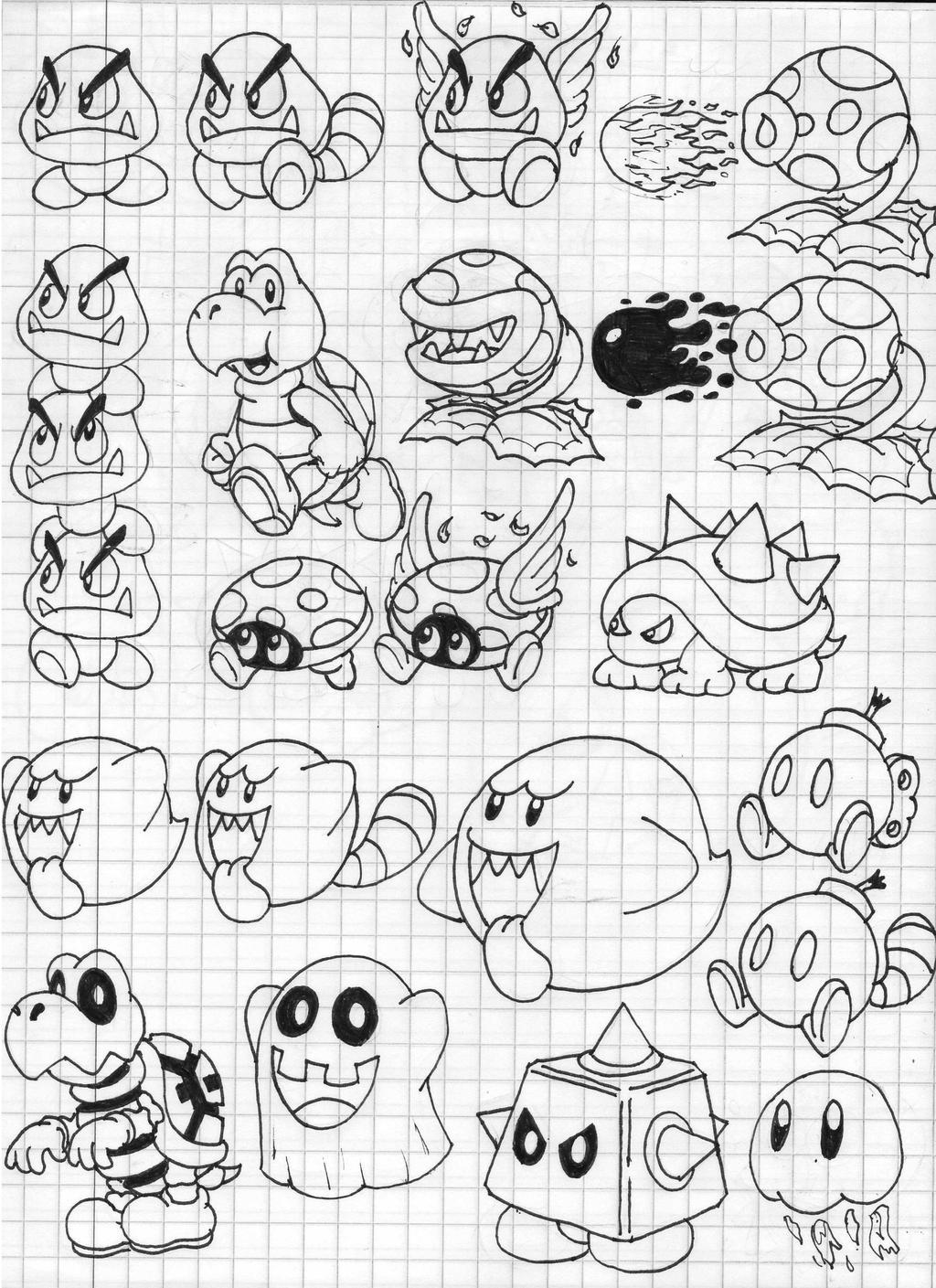 Super mario 3d land enemies doodles part 1 by for Nintendo land coloring pages