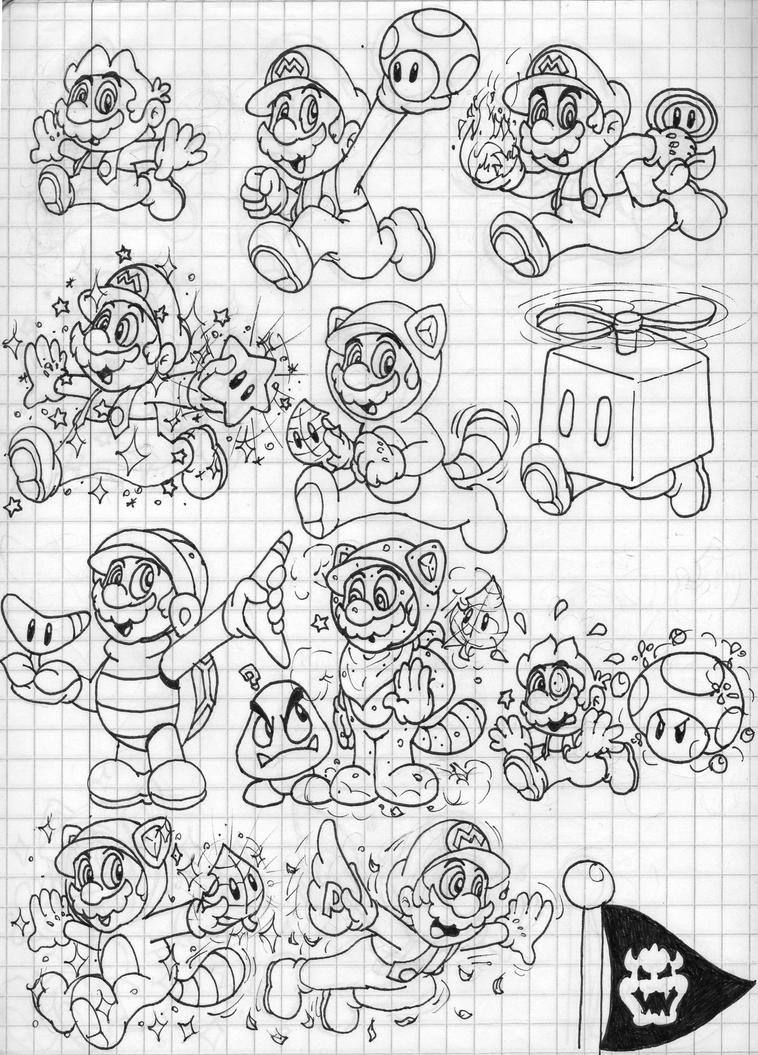 Super mario 3d land power ups doodles mario by for Super mario 3d land coloring pages