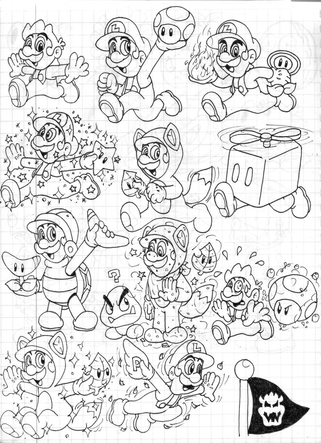 Super mario 3d land power ups doodles luigi by boxbird - Coloriage magique mario ...