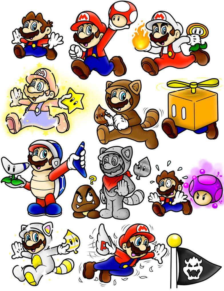 Super mario 3d land power up doodles mario color by for What color is mario