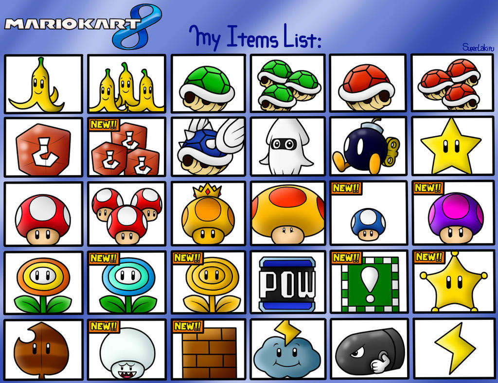 Mario Kart 8: My Items List By BoxBird On DeviantArt