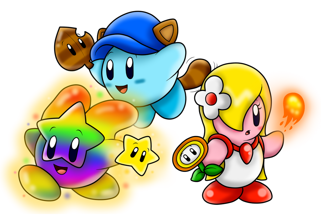 at with kirbyfan88 kirbys with powerups by superlakitu