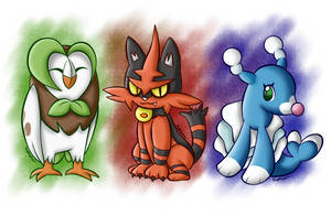 Grass Owl, Fire Cat and Water Sea Lion by BoxBird