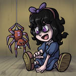Little girl and her spider friend