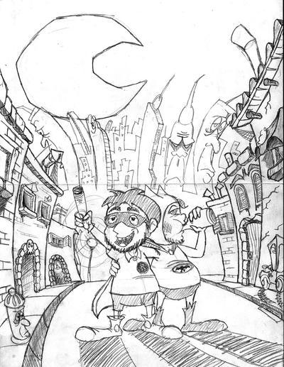 Bas - bat y Robintubo - boceto by Carloco