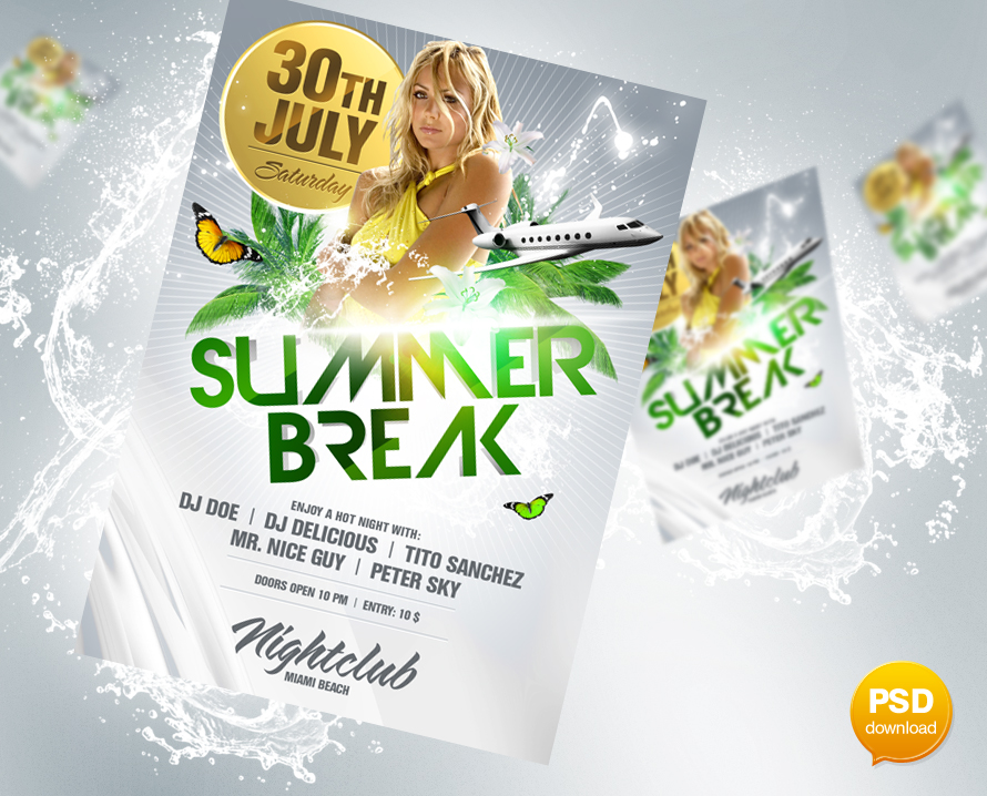 Summer Break Flyer PSD by Party-Flyer