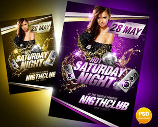 Hot Saturday Night Party Flyer by Party-Flyer