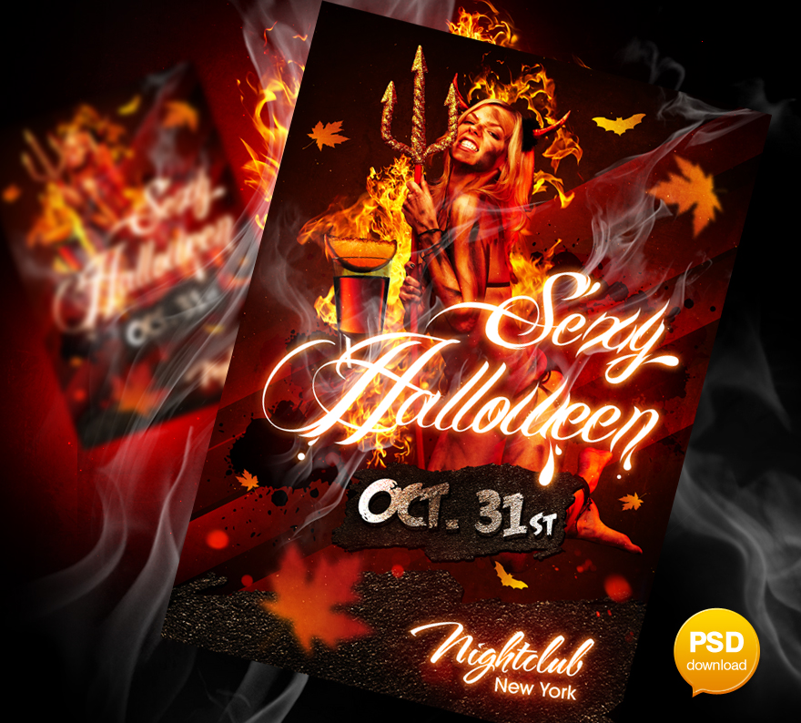 Sexy Halloween Party Flyer PSD by Party-Flyer