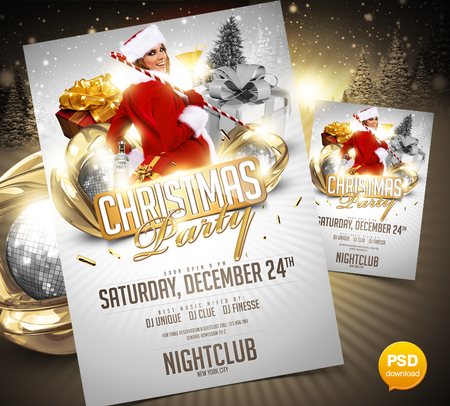 christmas party flyer template by party flyer