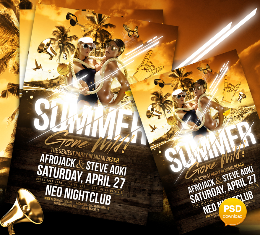 15 Excellent Flyer Templates For Your Next Event: Summer Gone Wild Party Flyer Template By Party-Flyer On