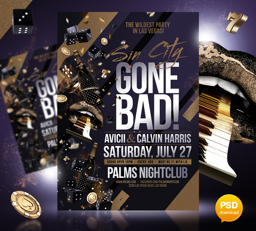 Sin City Gone Bad Party Flyer Template By Party Flyer On Deviantart