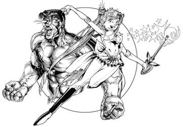 Sailor Moon and the Hulk by mallaard