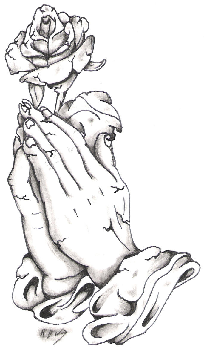 Stone Praying Hands And Rose By Bassplayer39 On DeviantArt