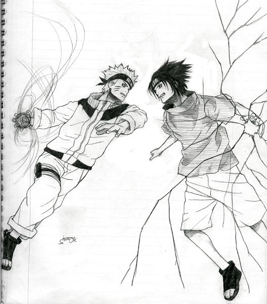 Naruto vs Sasuke by *osy057 on