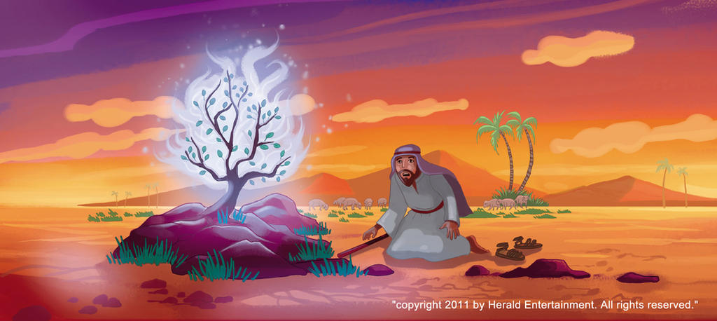 moses and the burning bush Moses did, and when he took his hand out, it was white like snow the hand looked as if it had the bad sickness called leprosy next jehovah gave moses power to do a third miracle.