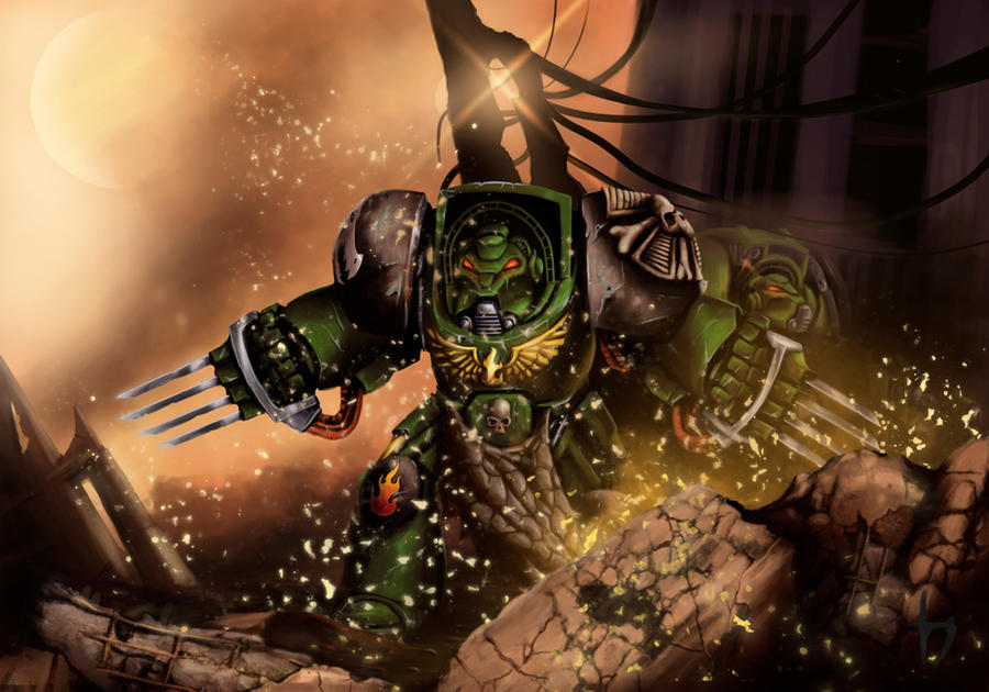 [W40K] Collection d'images : Space Marines Salamanders__terminator_by_corwin_cross-d5gglrw
