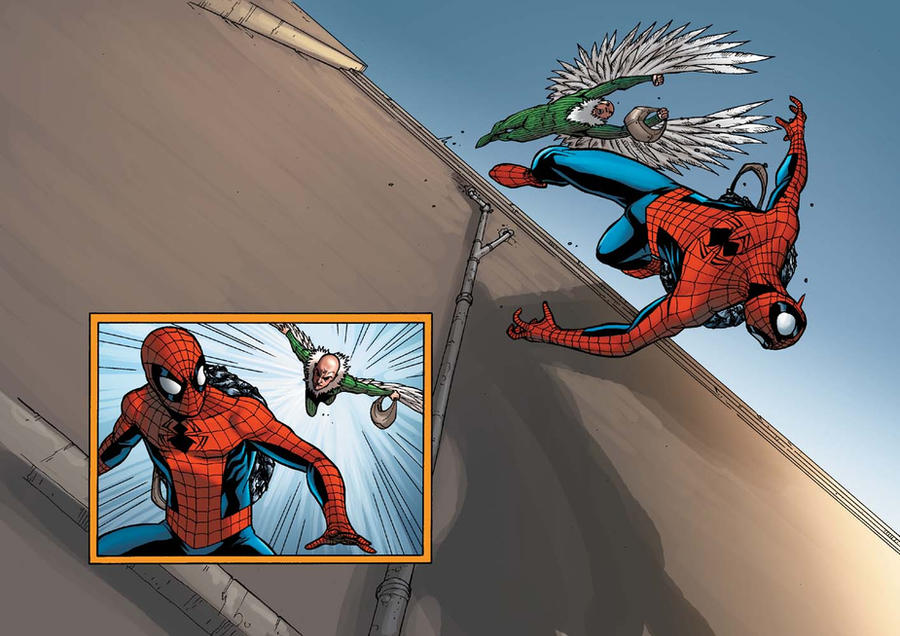 SPIDEY VS VULTURE PG18-PG19 by deemonproductions
