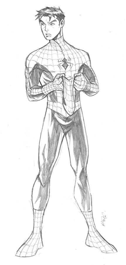 standing spiderman coloring pages | Male Standing Poses Reference Sketch Coloring Page