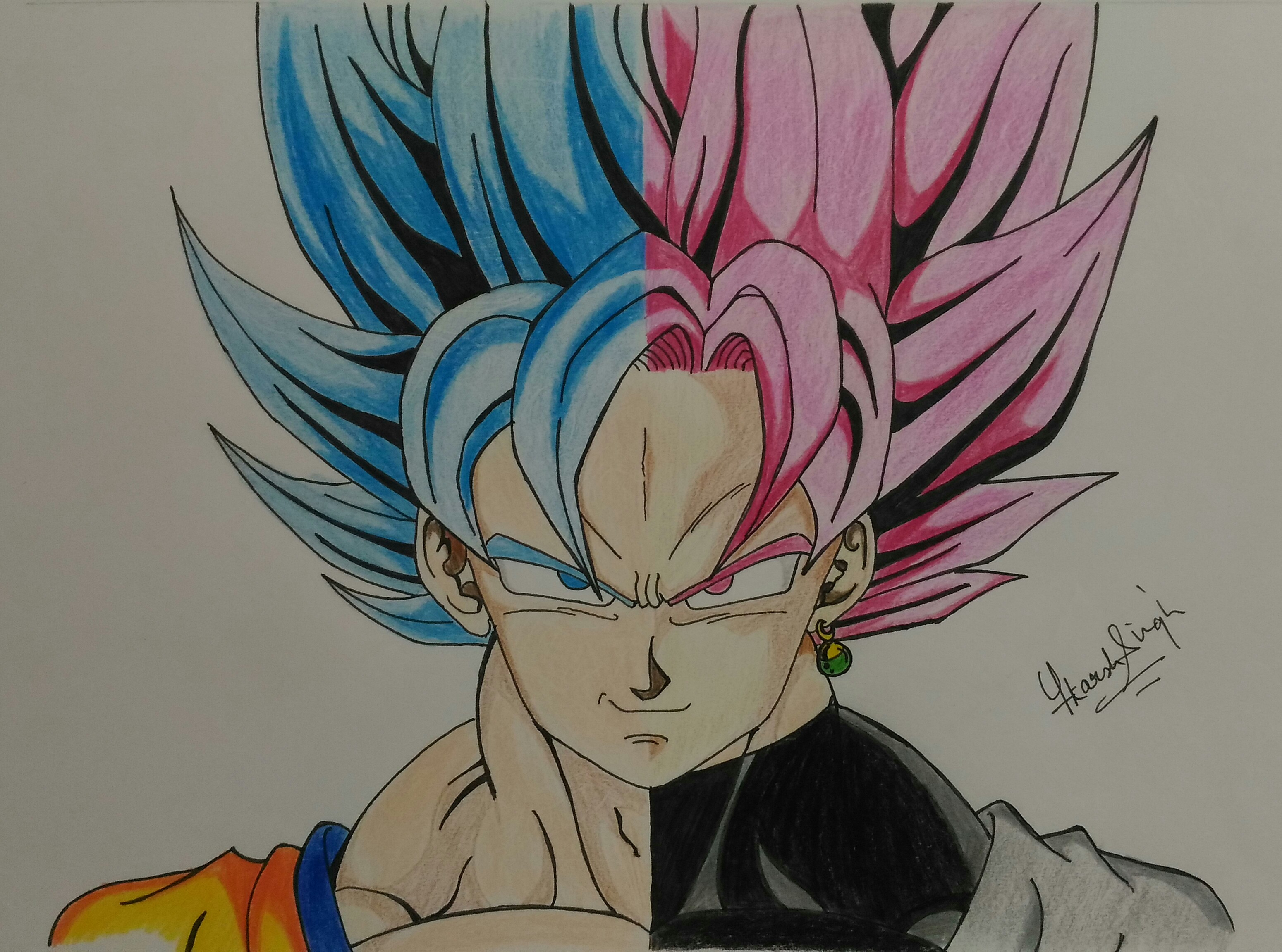 Goku ssj blue n goku black ssj rose split art by for Buy black and blue roses