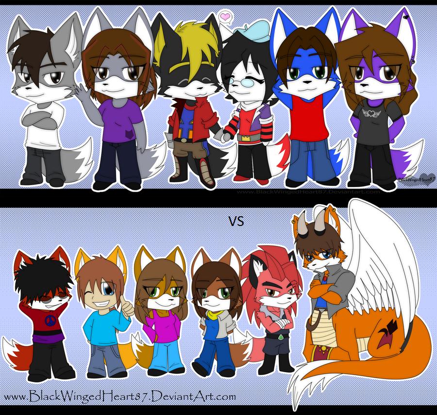 Chibi Friends Team 1 Vs Team 2 by FoxMccloud101