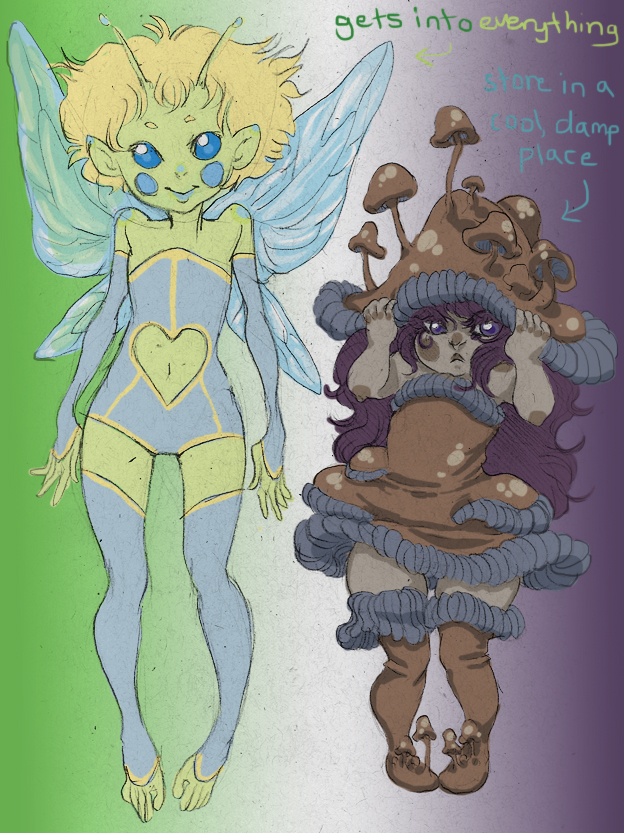 Fae and Grumpy Mushroom by quietsecrets