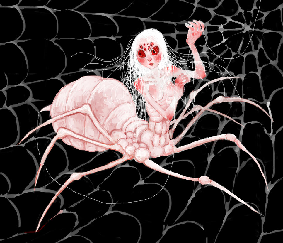 albino spider girl by quietsecrets