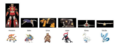 Power Rangers 3 Zords Pokemon