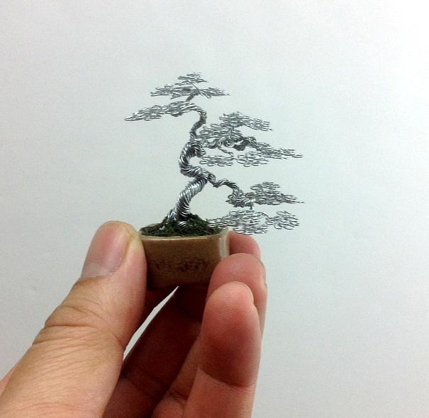 Cascading Wire Bonsai Tree Sculpture by Ken To by KenToArt
