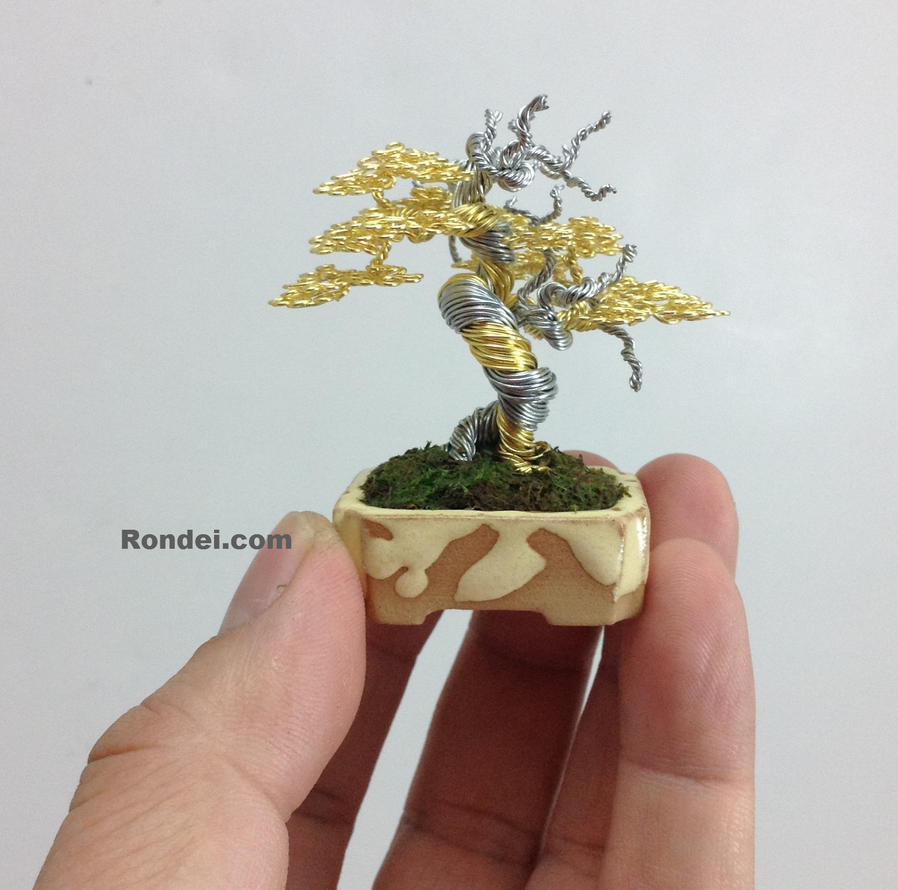 Gold Wire Bonsai Tree Sculpture by Ken To by KenToArt