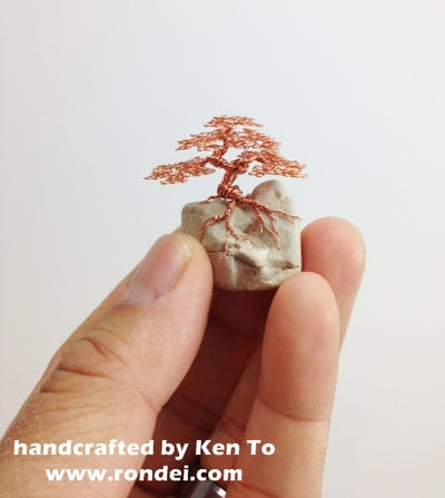 Micro Wire bonsai tree on a rock by Ken To by KenToArt