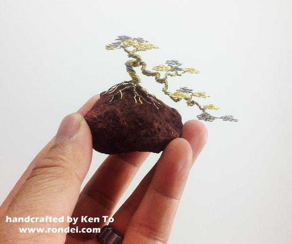 Gold and Silver wire cascade bonsai tree on a rock by KenToArt