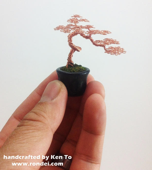Cascading literati wire bonsai tree by Ken To by KenToArt