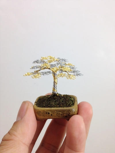 Gold Silver wire mame wire bonsai tree by Ken To by KenToArt