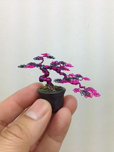 Hot pink semi-cascade wire bonsai tree by Ken To by KenToArt