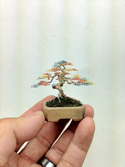 Informal Upright Mame wire bonsai tree by Ken To by KenToArt