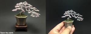 Rose and Silver semi-cascade wire bonsai tree