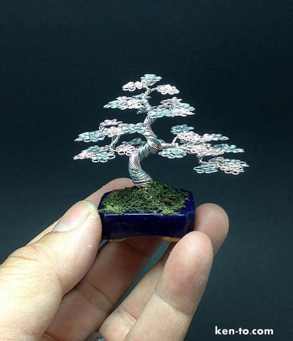 Rose Silver mame wire bonsai tree by Ken To by KenToArt