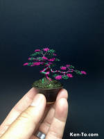 Pink Green wire bonsai tree by Ken To by KenToArt