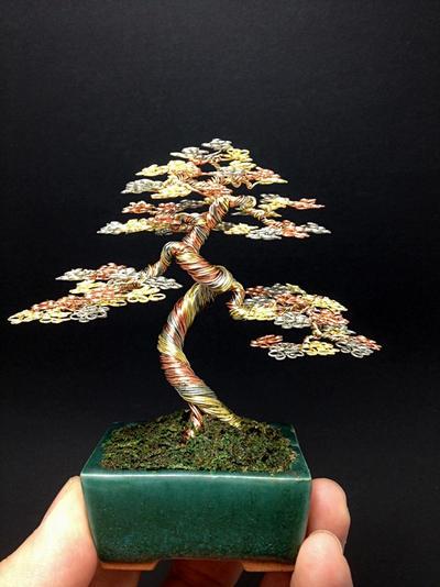 3 color wire bonsai tree by Ken To by KenToArt