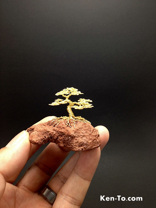 mini gold wire bonsai tree on rock by ken to by kentoart on deviantart rh deviantart com Bonsai Wire Sizes Japanese Bonsai Trees