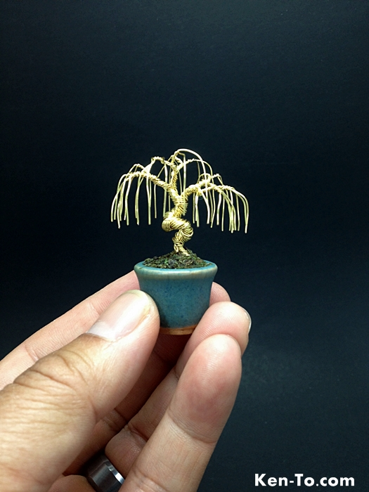 A mini gold weeping wire bonsai tree by Ken To by KenToArt