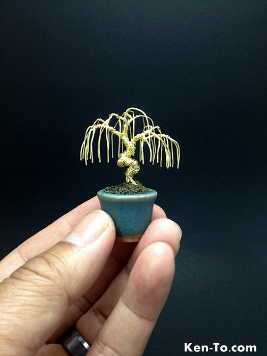 A mini gold weeping wire bonsai tree by Ken To by KenToArt