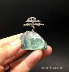Micro root on rock wire bonsai tree by Ken To by KenToArt