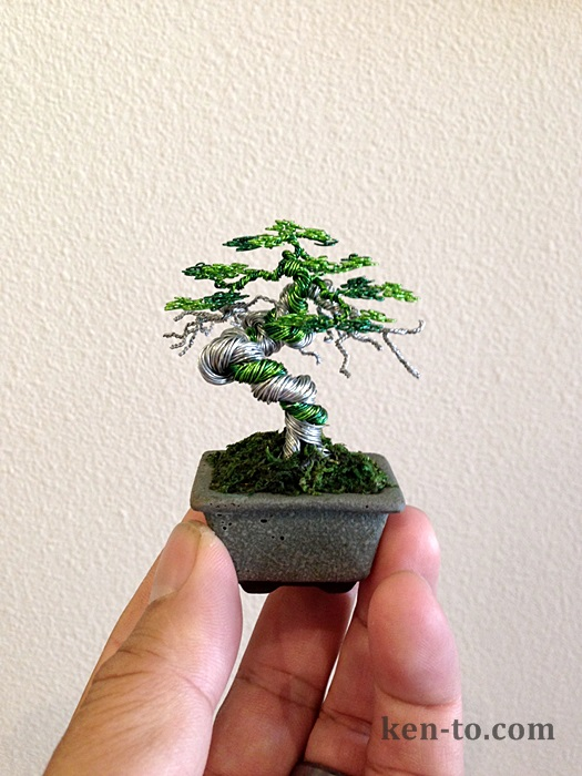 Green Wire bonsai tree by Ken To by KenToArt